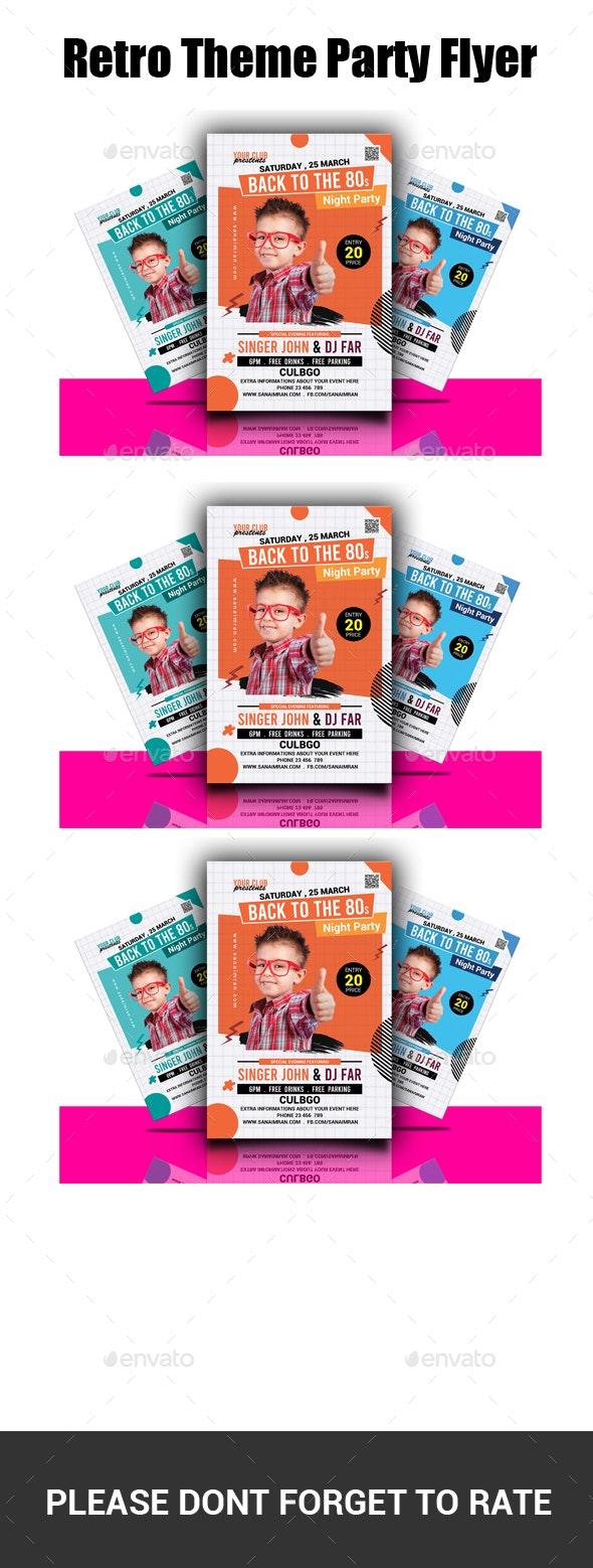 Retro Theme Party Flyer - Flyers Print Templates
