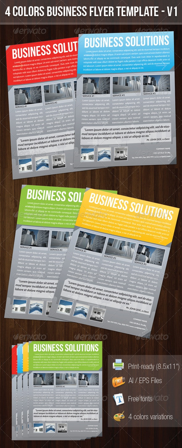 4 Colors Business Flyer Template V1  - Corporate Flyers