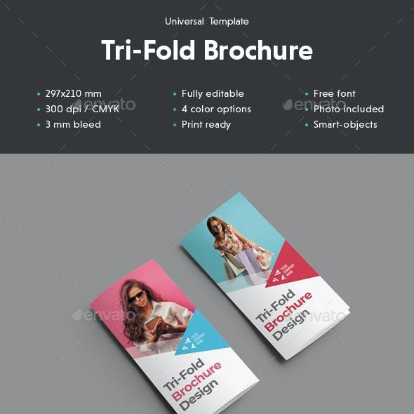 Universal Tri-Fold Brochure With Triangular Design Elements