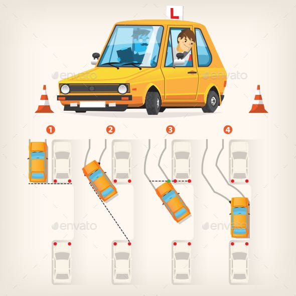 Vector Infographics on Parallel Parking