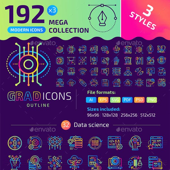 192+ Icons Bundle — Gradicons Outline