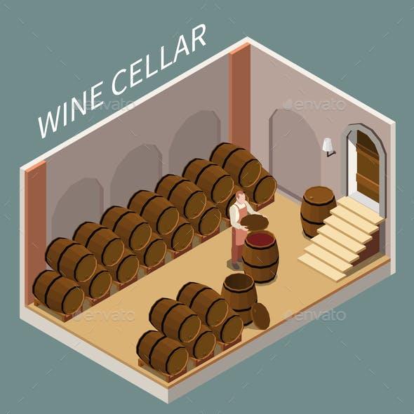 Wine Cellar Isometric Illustration