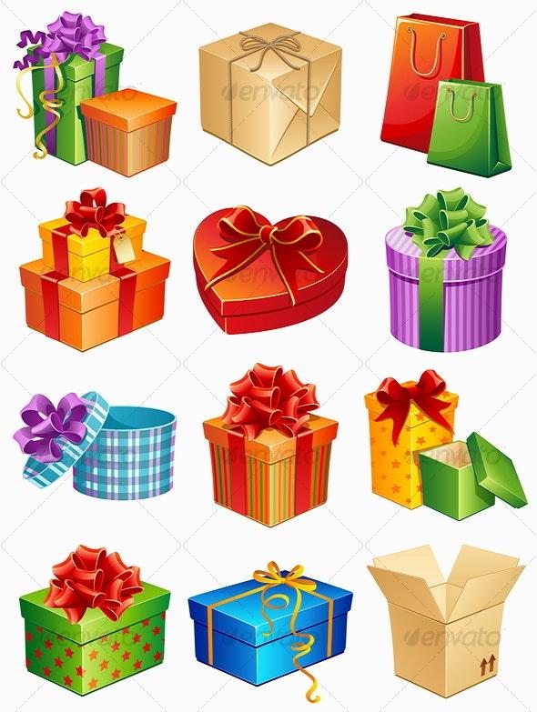 gift box icons - Seasons/Holidays Conceptual
