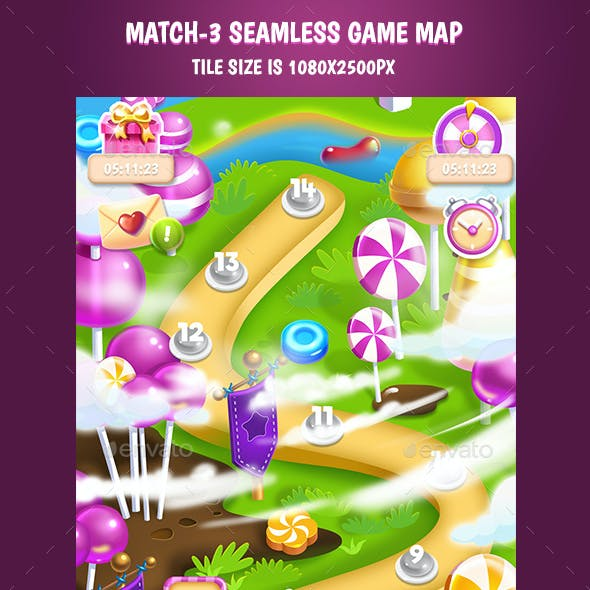 Tileable Seamless Candy Vertical Game Map #2