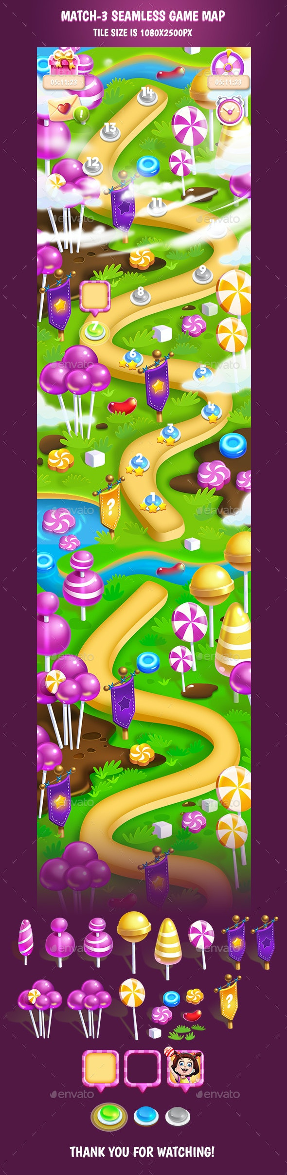 Tileable Seamless Candy Vertical Game Map #2 - Backgrounds Game Assets