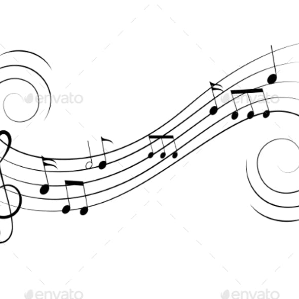 Vector Music Notes Treble Clef Flow on Music Staff