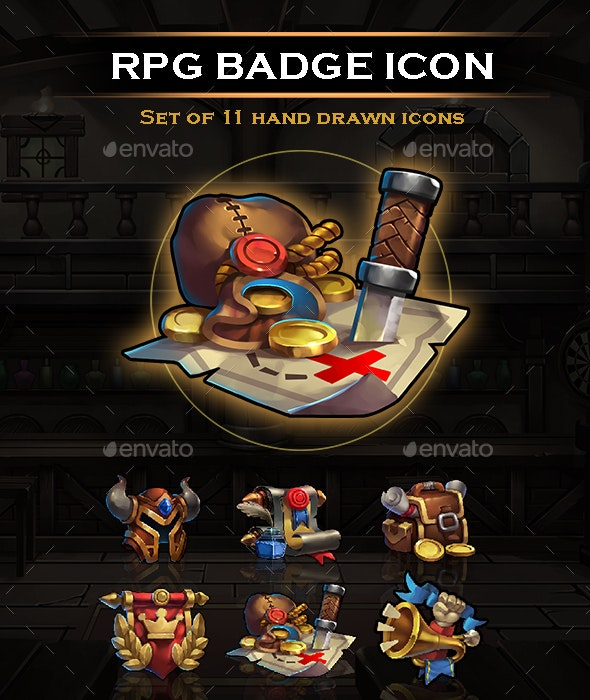 RPG Badge Icon Handrawing UI Set - Miscellaneous Game Assets
