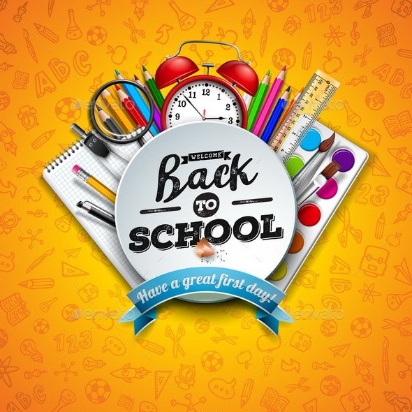 Back To School Design with Colorful Pencil - Miscellaneous Vectors