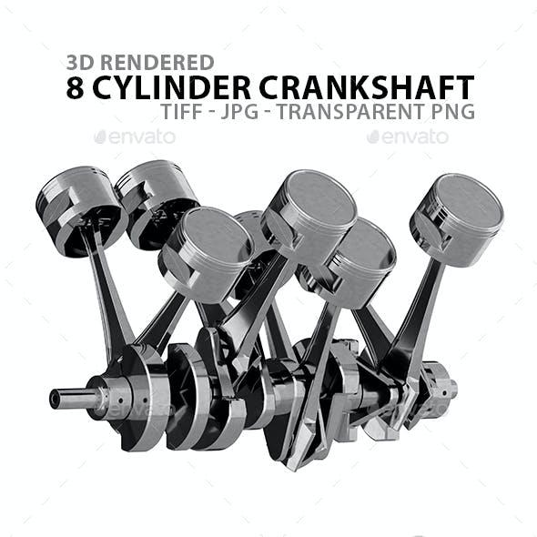 Silver Crankshaft Realistic 3D Renders