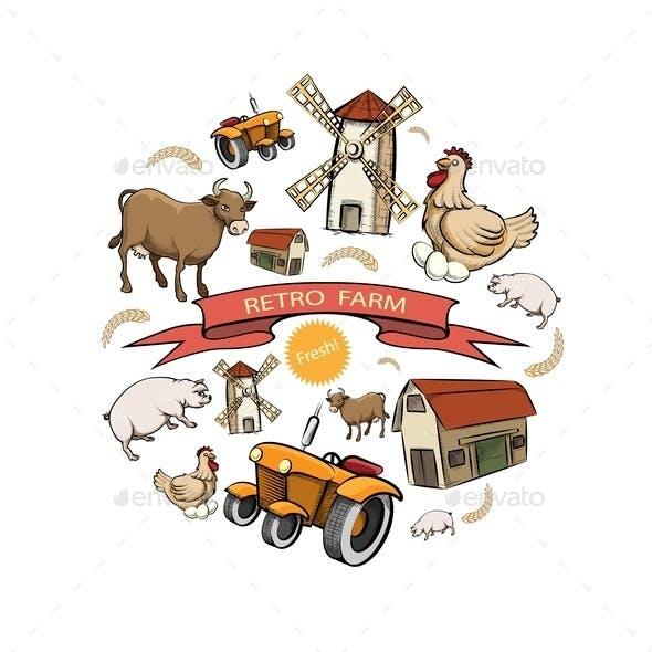 Sketch Retro Farm Round Concept