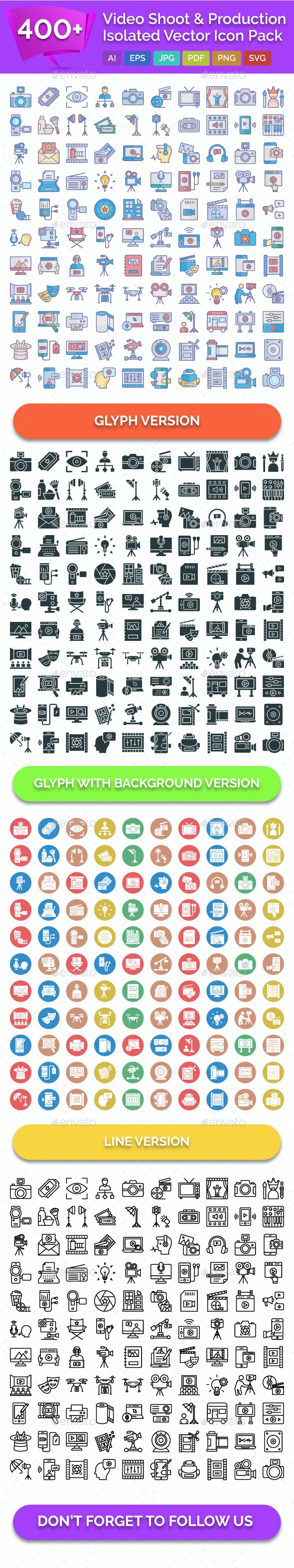 400+ Video Shoot & Production Isolated Vector Icons Pack - Icons