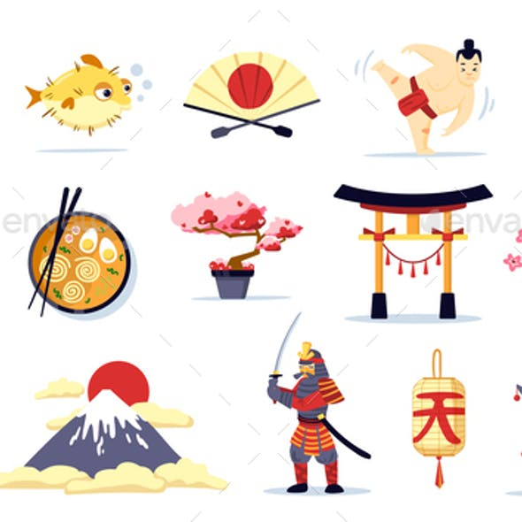 Japan Symbols Cartoon Set