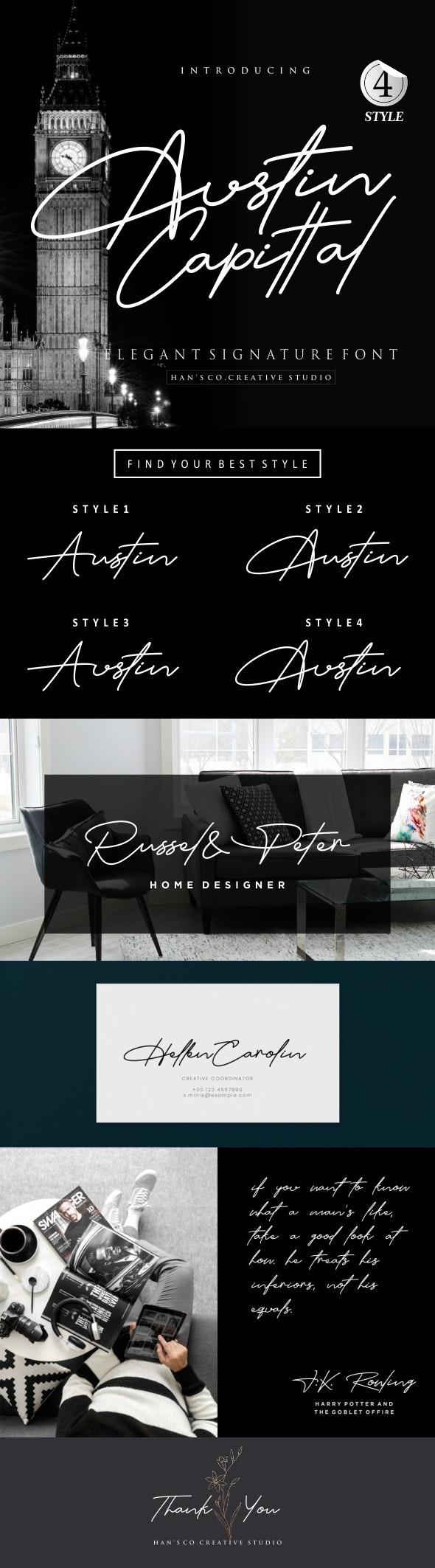 Austin Capittal Font - Handwriting Fonts