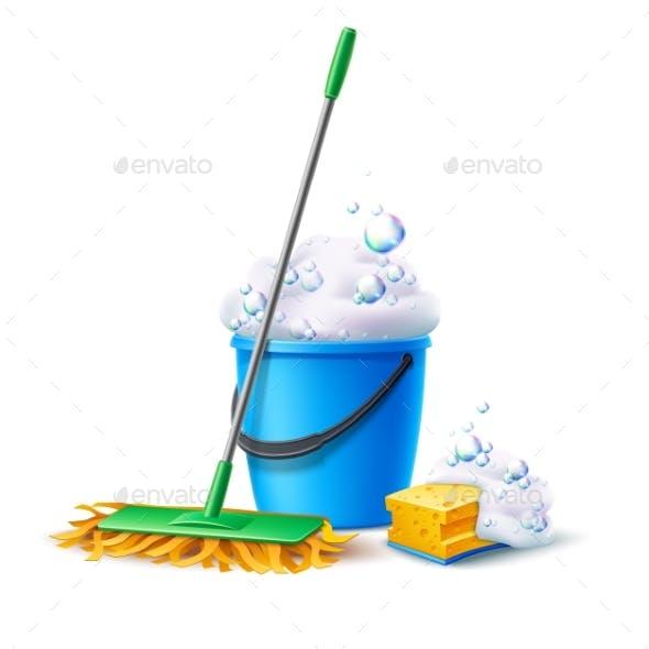 Vector Realistic Mop Sponge Bucket with Soapy Foam