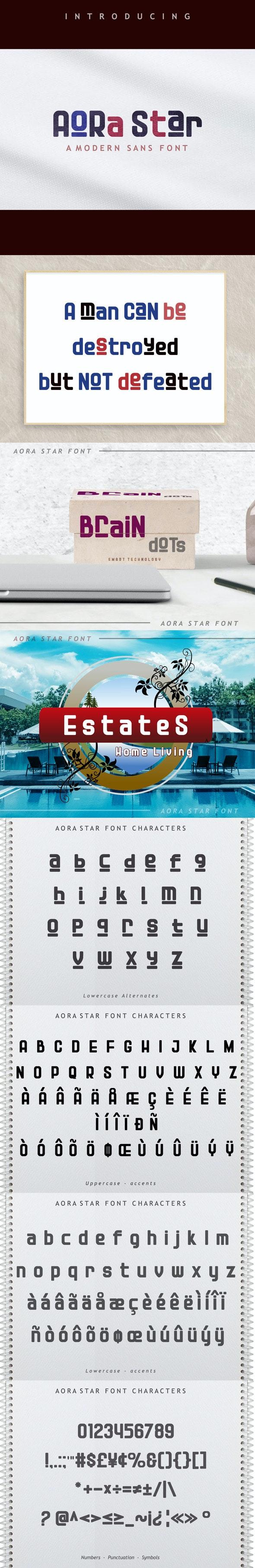 Aora star Font - Sans-Serif Fonts