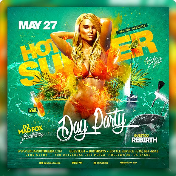 Hot Summer Day Party Flyer