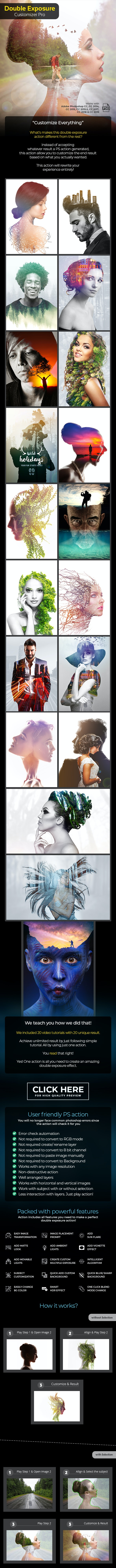 Double Exposure Customizer Pro - Photoshop Action - Photo Effects Actions