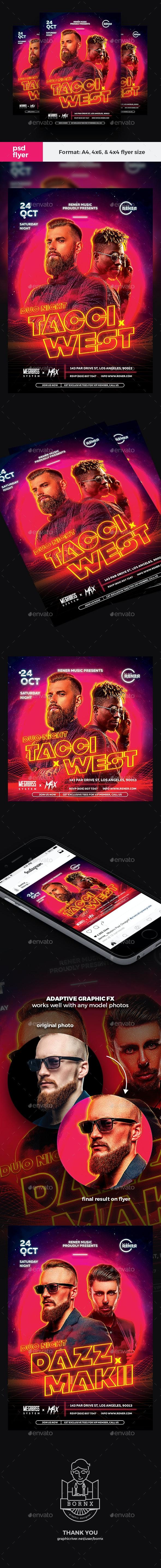 Duo DJ Techno Flyer