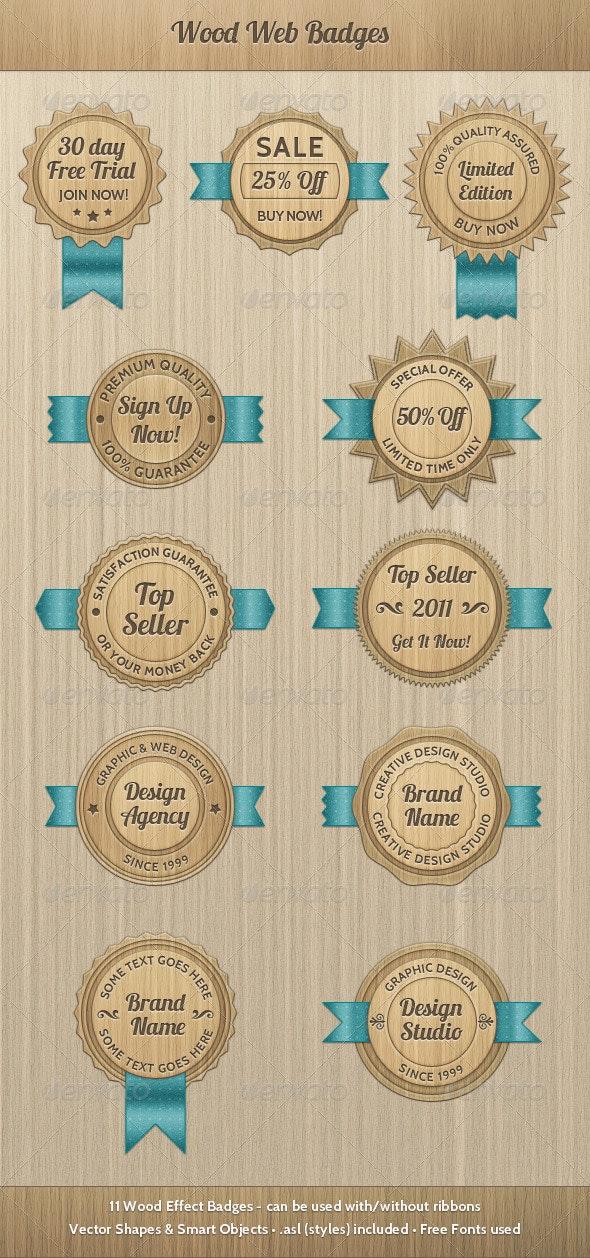 Wood Web Badges - Badges & Stickers Web Elements