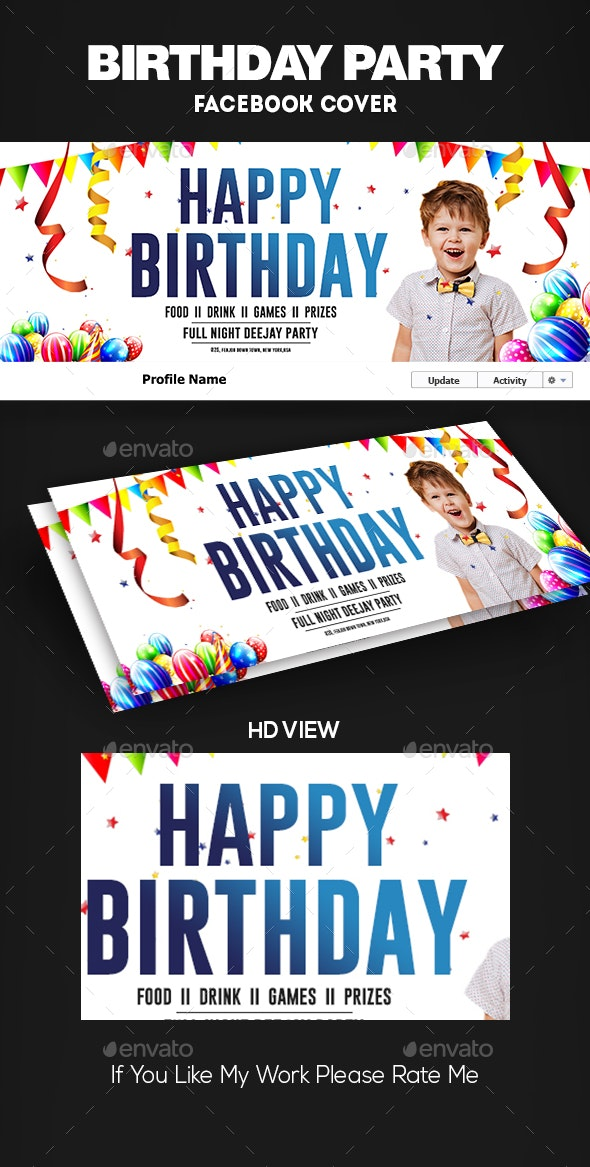 Birthday Party Facebook Cover by DUrgaDesigns | GraphicRiver
