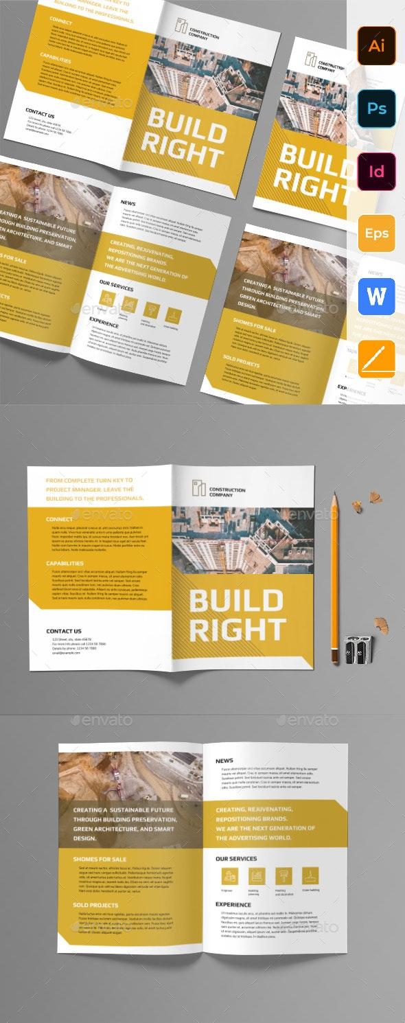 Construction Company Bifold Brochure - Corporate Brochures