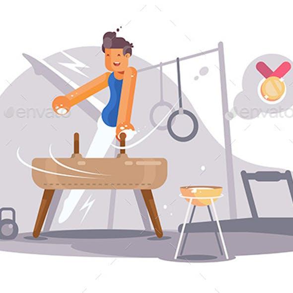 Professional Gymnast Having Training
