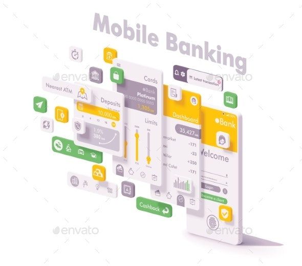 Vector Mobile Internet Banking App Concept