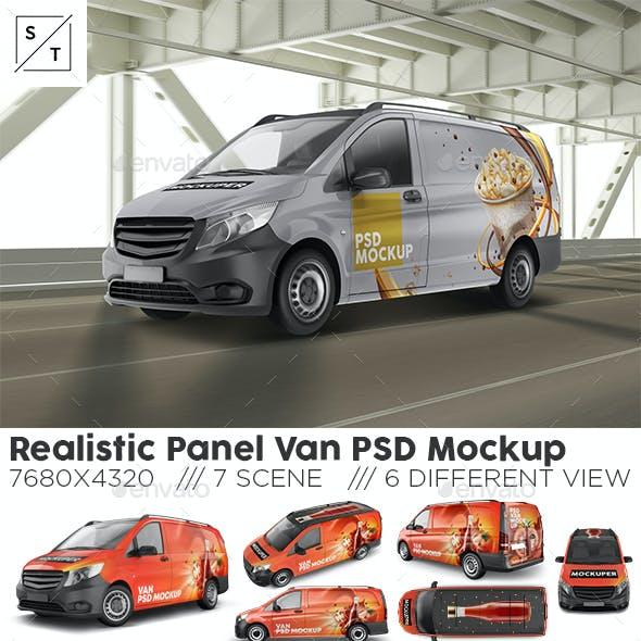 Realistic Panel Van PSD Mockup
