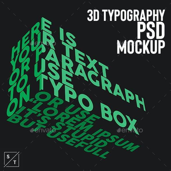 3D Typography PSD Mockup
