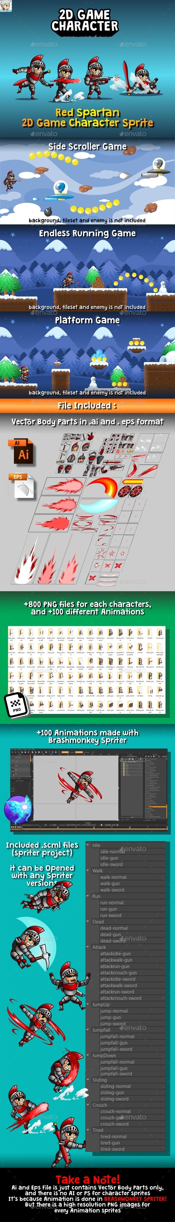 Red Spartan 2D Game Character Sprite - Sprites Game Assets