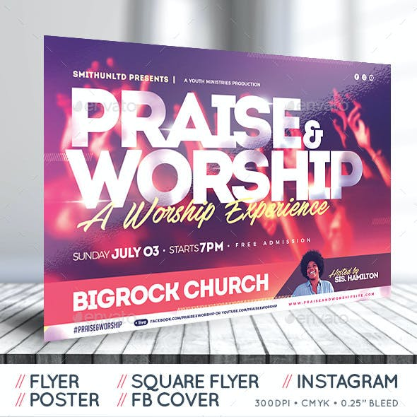 Praise and Worship Flyer - The Experience - Complete Set