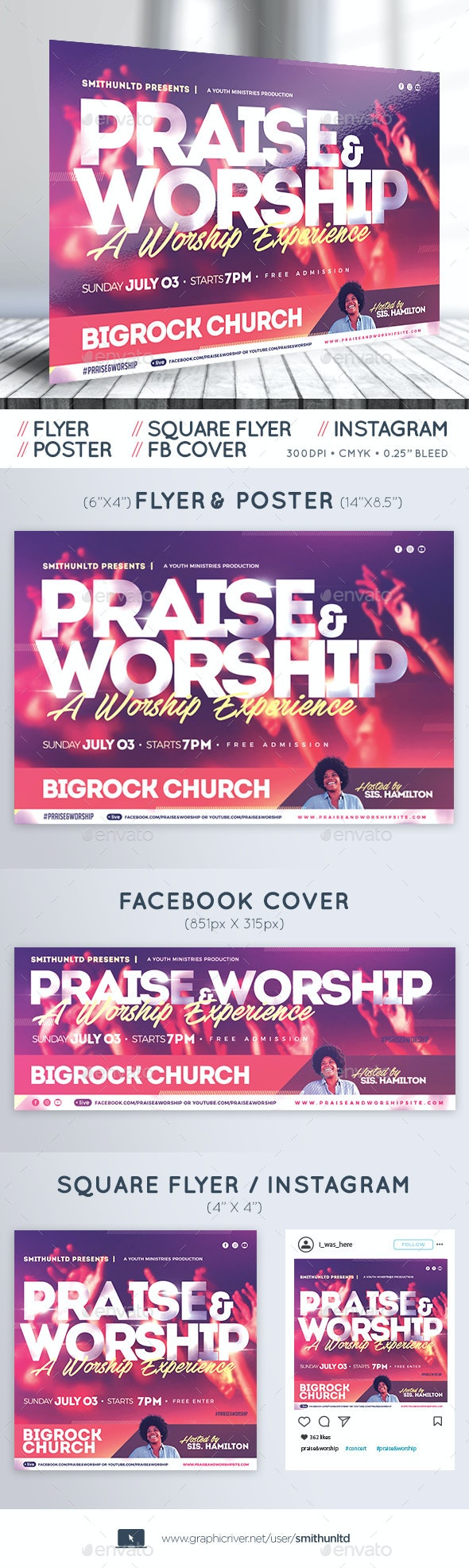 Praise and Worship Flyer - The Experience - Complete Set - Church Flyers