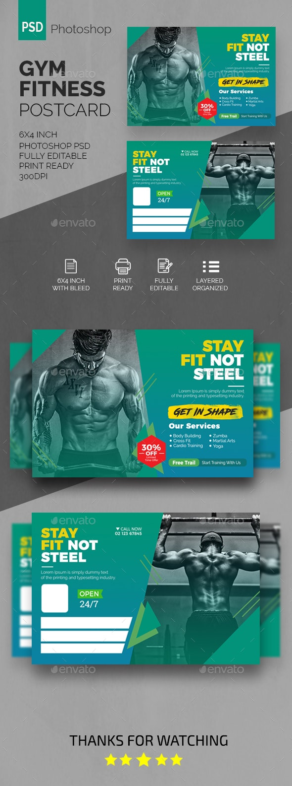 GYM Fitness Postcard - Cards & Invites Print Templates