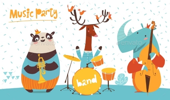 Christmas Party Images Cartoon.Christmas Party Vector Poster With Funny Musicians