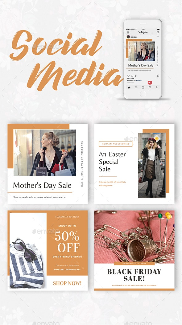 Social Media Sale Pack - Social Media Web Elements