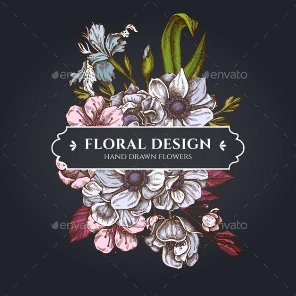 Floral Bouquet Dark Design with Anemone and Iris