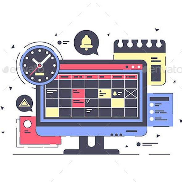 Computer Screen with Schedule Equipment