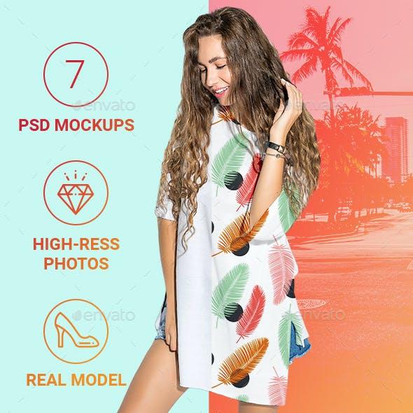Summer Female Oversize T-shirt Mockup Set