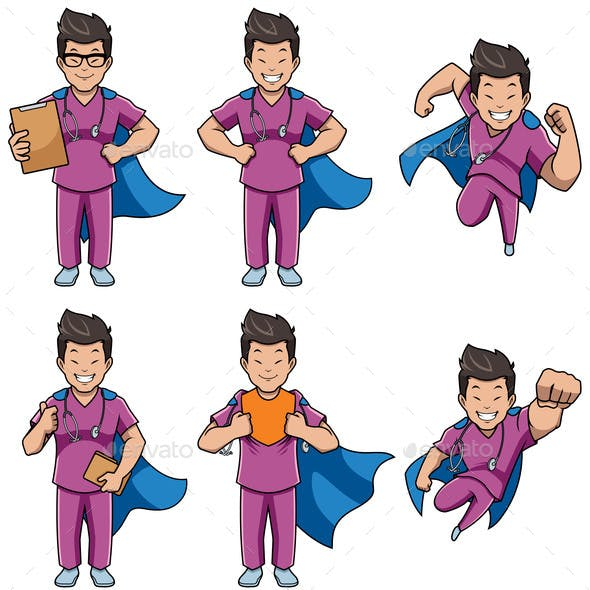 Super Nurse Asian Male Set