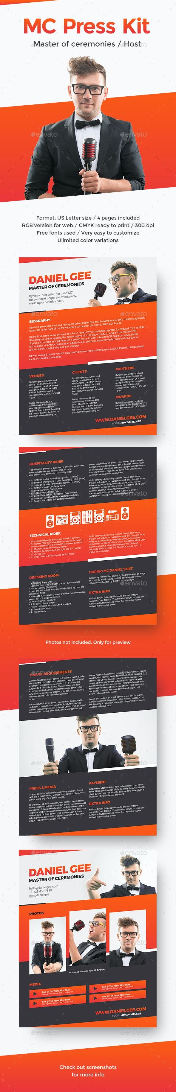 RealMC – Master of Ceremonies / Host Resume / Press Kit PSD Template - Resumes Stationery