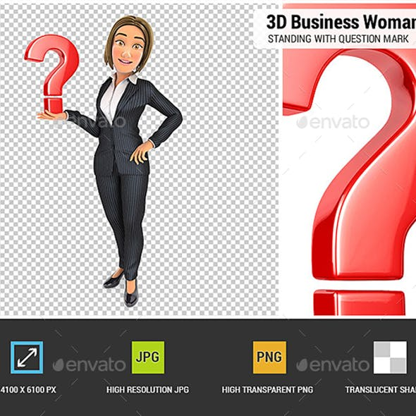 3D Business Woman Standing with Question Mark