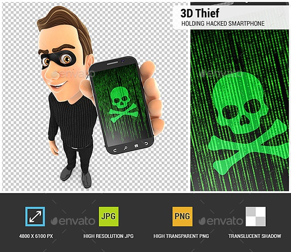 3D Thief Holding Hacked Smartphone - Characters 3D Renders