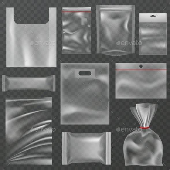 Plastic Packaging. Transparent Plastic Packs
