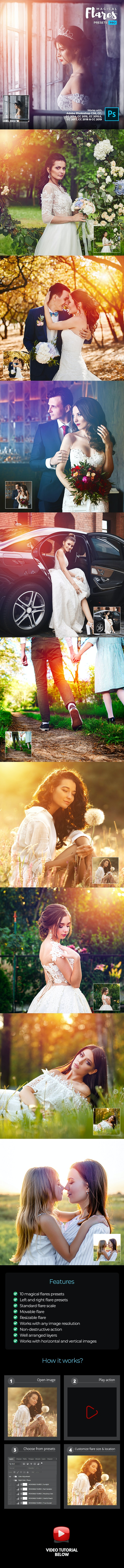 Magical Flares Presets Pro - Photoshop Action - Photo Effects Actions