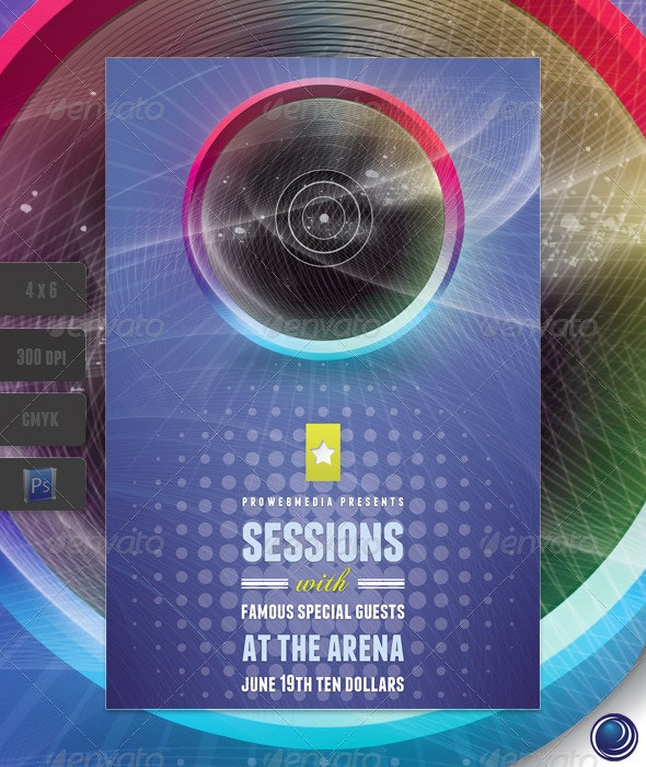 Stylish Music Disc Flyer Template - Clubs & Parties Events