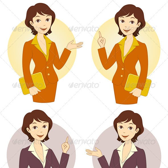Cartoon Businesswoman Set