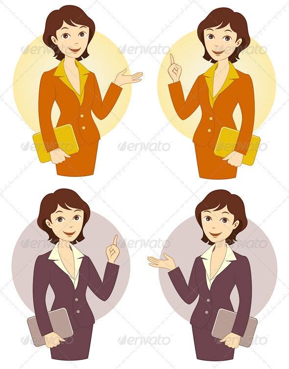 Cartoon Businesswoman Set - People Characters