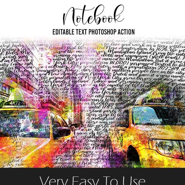 Notebook Editable Text Photoshop Action