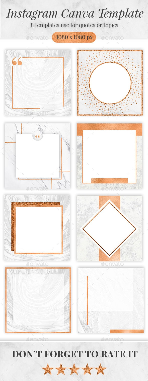 Copper Marble Canva Instagram Templates - Social Media Web Elements
