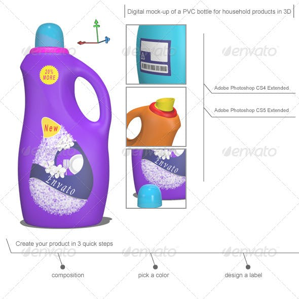 Mock-up of a 3D Cleaning Bottle for Household Prod